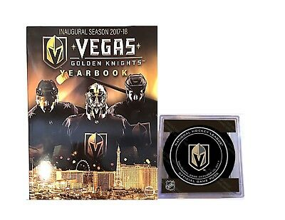 2017-2018 Nhl Inaugural Season Vegas Golden Knights Yearbook & Game Puck Oct 10