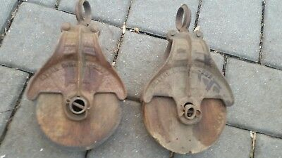 2 Vintage Antique Iron & Wood Pulleys Barn Primitive Tool Country