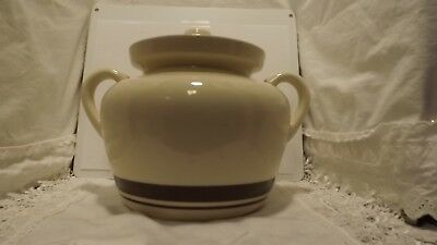 VINTAGE McCOY OVENPROOF BEAN POT WITH LID / #1242 / BROWN BAND