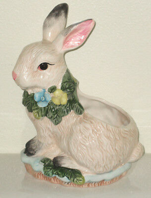 """Ceramic Bunny Rabbit Planter ~ Easter centerpiece signed Bloom-rite  9"""" tall"""