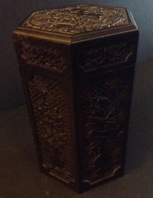 Beautifully Carved Antique Chinese Rosewood Tea Caddy