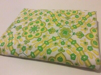 New SB Floral Yellow & Lime Vintage Retro cotton bed sheet Art craft fabric FQ