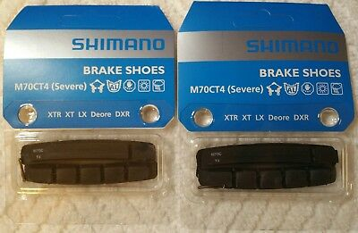 New 2 Pairs Shimano V-Brake Pads XTR/XT/LX/Deore M70CT4 Severe with Safety Pin