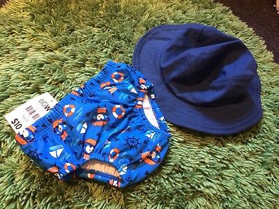 Baby Boys Swim Nappy Swimmers Sz 0 Swimming Togs Swim Hat Sprout Navy Blue