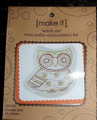 Brand New Stitch Me mini Softie Embroidery Kit - Cecilie Owl  NEW