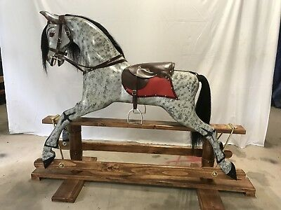 Rocking Horse Hand Carved 1900's Reproduction