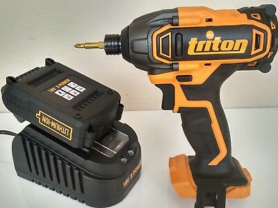 triton 18v impact drill driver + x-power 2ah lithium battery & fast charger