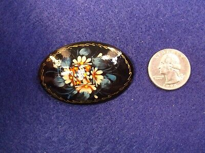 #2, Gorgeous Hand Painted Handcrafted Russian Black Lacquer Flower Brooch Pin