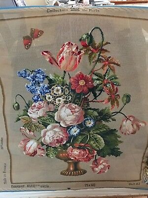 Tapestry canvas  collection de Paris  75 x 90 Bouquet XV111 France needlepoint