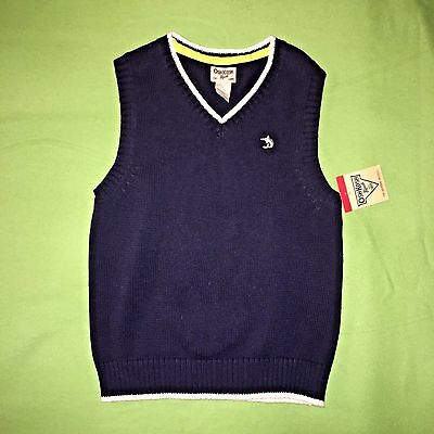 NWT OshKosh BOYS Vest Sweater Sz 5 Navy Blue Holiday Party Picture Perfect!