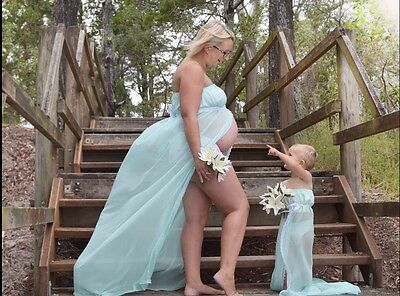 Mother And Daughter Matching Dresses For Maternity Photo Shoot, Open Front