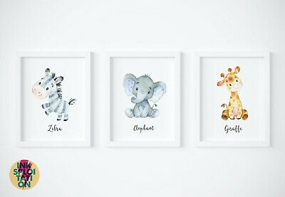 Set of Jungle Safari Nursery Watercolour Animals Wall Art Print Baby Gift