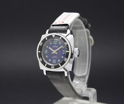 New Old Stock Tiny Ladies RADAR DIVER blue dial vintage MECHANICAL watch FE 68