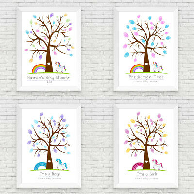 Baby Shower Personalised Unicorn Fingerprint Tree Prediction Tree / Boy / Girl
