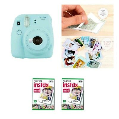 Fujifilm Instax Mini 9 Camera Ice Blue 2 Packs Fuji Film 20 Photo 8