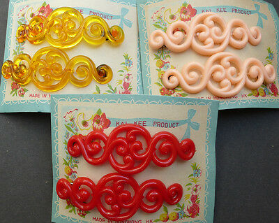 2 Most BAROQUE Vintage 1950s Hair Slides -Choice of 3 Colours