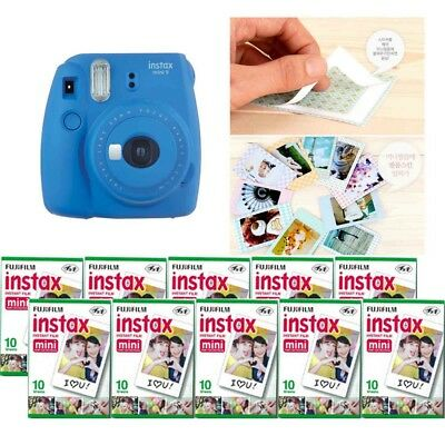 Fujifilm Instax Mini 9 Camera Cobalt Blue 10 Packs Fuji Film 100 Photo 8