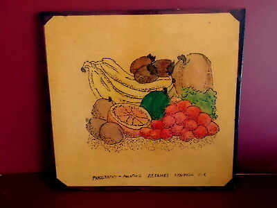 Vintage PYROGRAPHY PAINTING - Hand Made Apprentice Piece P F Eames Bendigo FRUIT
