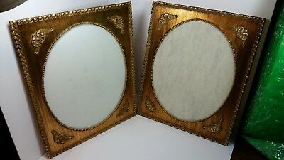 Pair of Antique 13.5 x 16.5 Ornate VICTORIAN Gold Picture Frame 11 x 14 oval