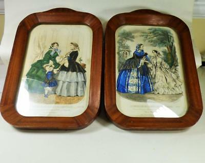 Pair of 19th CENTURY FASHION PLATES FRENCH framed PICTUREs nicely framed