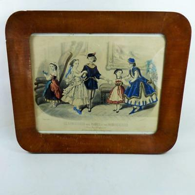 19th CENTURY FASHION PLATE FRENCH framed PICTURE nicely framed