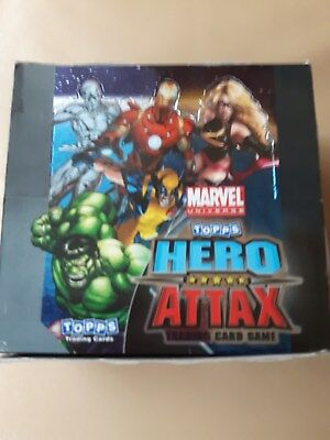 Topps HERO ATTAX Marvel - Serie 1 Trading Cards - Display mit 50 Tüten + POSTER