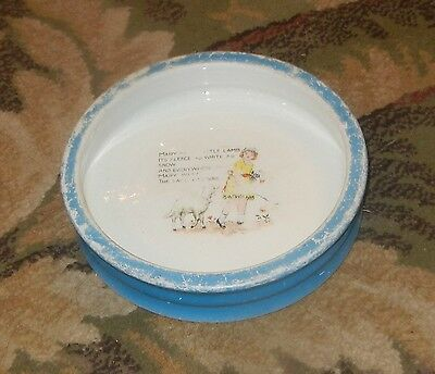 Antique Mary Had A Little Lamb Pottery Childs Dish