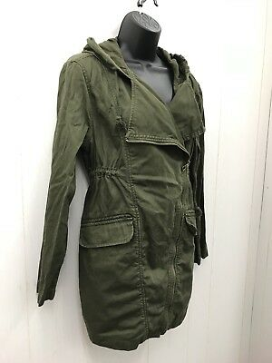 OLD NAVY MATERNITY Coat Jacket S Olive Army Green Zip Front Waisted Small