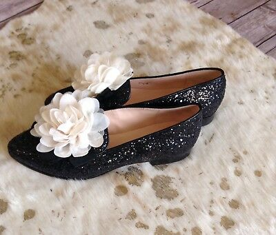 e5f12b7ce68 BRAND NEW Kate Spade New York Cinda Flower Accented Glitter Loafers Black  5.5