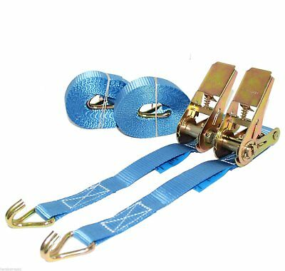 2 x 5m x 25mm Blue RATCHET TIE DOWN Claw STRAP 800kg Handy Straps