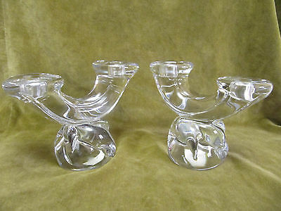 2 Bougeoirs 2 branches cristal Daum France (crystal candlesticks )