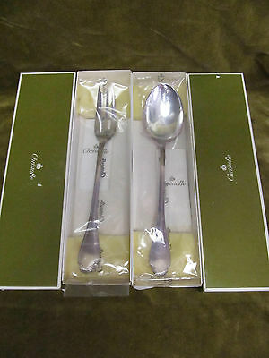 french silverplate serving fork & spoon Christofle Louis XV Pompadour New in box