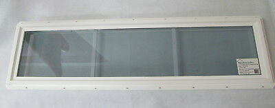 "Transom Window 12"" x 48"" Double Pane Low-E Tempered Glass PVC Frame"