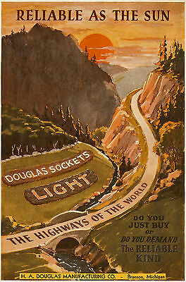 Reliable as the Sun - Douglas Sockets Light the Highways of the World - 1931 Ad