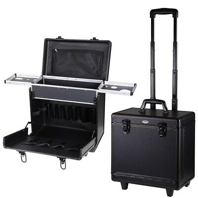 PVC Hair Makeup Train Case Baber Salon Clipper Trimmer Tool Appliance Box Black