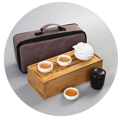 (Set of 5 pieces, Wooden Bamboo box, Bag) Chinese Kungfu Tea Set Portable Travel