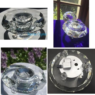 Clear Crystal LED Display Stand Base 7LED White Lights Perfect Size for Display