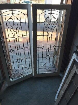 "Cm 1787 Match Pair Antique Leaded Glass Cabinet Doors Or Windows 20"" X 48"" Each"