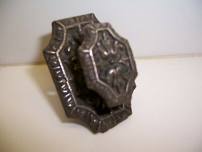 Antique Cast Iron Victorian Dresser Drawer Pull Attached Back Plate &Screw