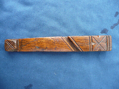 Antique Wooden Early 19Th Century Primitive Folk Art Carved Knitting Sheath