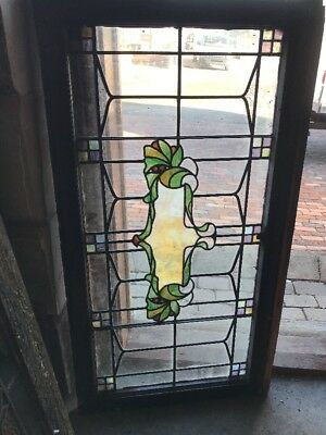 Sg 1790 Antique Stainglass Leaded Transom Window 25 H By 46.5 W