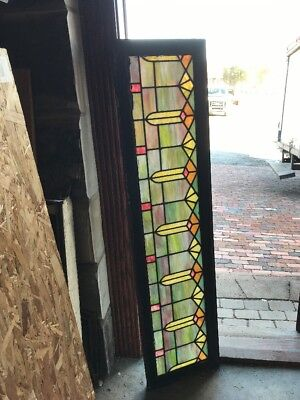 SG1795 antique stained glass deco design transom window 16 x 63