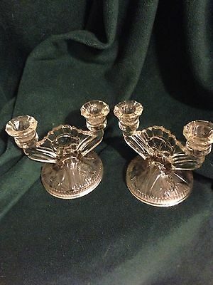 Iris And Herringbone Jeannette Depression Glass Clear Double Candle Holders -2!