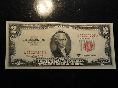 1953 B United States Note $ 2 Two Dollars Red Seal A71237305A