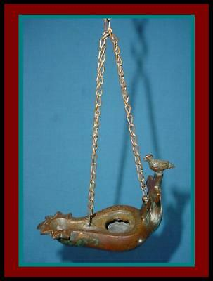 ANTIQUE INCISED BRONZE ROMAN BYZANTINE HANGING OIL LAMP Bird perched on Cross