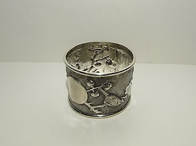 Exquisite Antique Oriental Solid Silver Napkin Ring Japanese or Chinese Marks