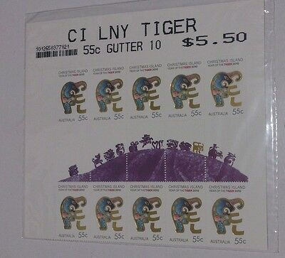 Christmas Island Year of the Tiger 2010 - 55 Cent Gutter Strip