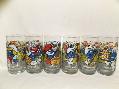 Set Of All 6 New Old Stock Vintage 1983 Peyo Smurf Hardees Promo Glasses!