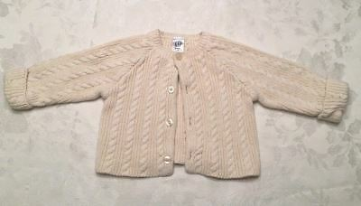 Baby Gap Size 3-6 Month Cardigan Sweater Cream Button Down Cable Knit NB