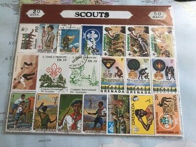 20 Different Scout And Girl Guide Stamps Some Unfranked